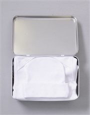 Celebrate the new bundle of joy with a white tin w