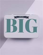 Dream big with a white tin with cute label design