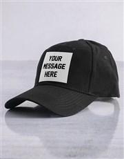 Personalised Black Messaging Peak Cap