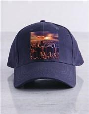 Personalised Navy Photo Peak Cap