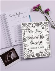 Personalised Floral Sketch Pregnancy Journal
