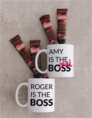 Let 'em know who's boss with this set of two mugs
