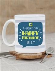Personalised Stripy Birthday Mug
