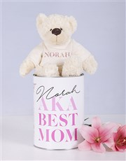 Personalised Mom Teddy jersey matching tin