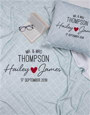 Personalised Modern Mr and Mrs Blanket or Cushion