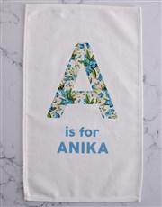 Floral initial tea-towel