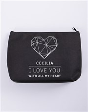 Personalised I Love You Cosmetic Bag
