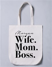 Personalised Wife Mom Boss Tote Bag