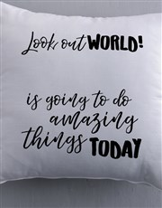 Personalised Look Out World Scatter Cushion