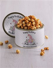 Personalised Birthday Unicorn Popcorn Tin