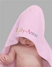 Personalised Multi Colour Name Hooded Towel