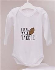 Personalised Crawl Walk Tackle Onesie