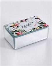 Personalised Vintage Rose Mirror Trinket Box