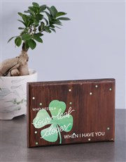 Personalised Four Leaf Clover Wooden Photo Block