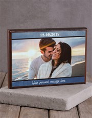 Personalised Printed Photo Frame with Date and Mes