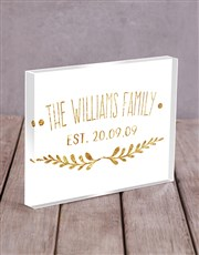 Personalised Gold Family Acrylic Block