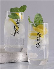 Personalised Happy Wife and Life Glass Set