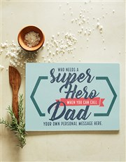 Personalised Super Dad Glass Chopping Board