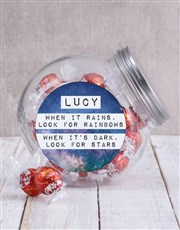 Inspire a loved one with this clear candy jar with