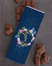 Personalised Floral Chocolate Slab