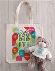 Personalised You Did It Teddy in Tote Bag