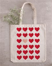 Personalised Heart Teddy in Tote Bag