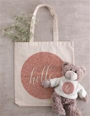 Personalised Glitter Teddy in Tote Bag