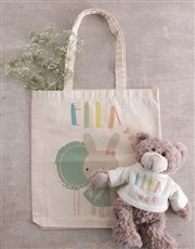 Personalised Bunny Teddy in Tote Bag