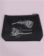 Personalised Sketched Protea Cosmetic Bag