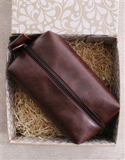 Personalised Leatherette Gents Brown Wash Bag