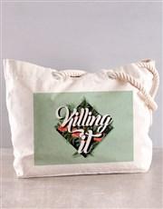 Personalised Killing It Floral Beach Bag