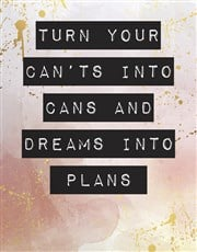 Personalised Dreams Into Plans Poster