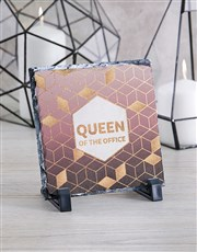 Personalised Queen of the Office Glass Tile