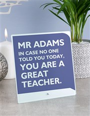 Personalised Great Teacher Glass Tile