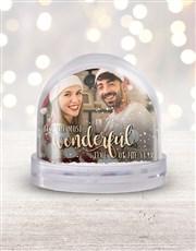 Personalised Wonderful Time Photo Snow Globe