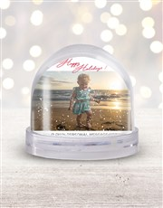 Personalised Happy Holidays Photo Snow Globe