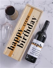 Birthday Personalised Wine and Crate