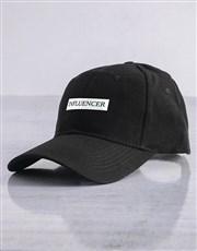 Personalised Black Serif Slogan Peak Cap