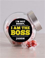 Personalised Not Bossy Candy Jar