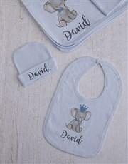 Personalised Blue Elephant Clothing Gift Set