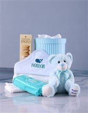 Personalised Blue Whale Hooded Baby Towel