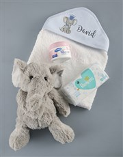 Personalised Blue Elephant Hooded Baby Towel