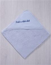 Personalised Rubadub Blue Hooded Baby Towel