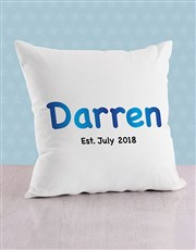 Personalised Blue Baby Name and Date Cushion
