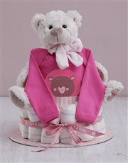 Personalised Girl Nappy Cake
