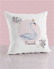 Personalised Swan Princess Baby Scatter Cushion