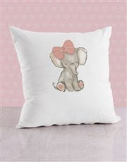 Personalised Pink Elephant Baby Scatter Cushion