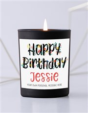 Personalised Floral Thank You Black Candle