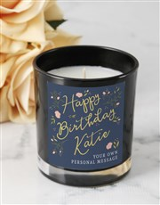 Personalised Rose Happy Birthday Black Candle