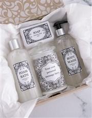 Personalised Black Damask Gift Set